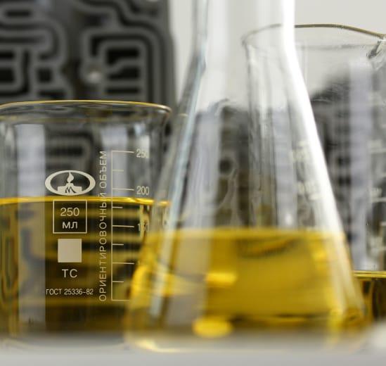 oil in beakers